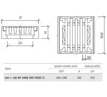 Vtoková mříž uliční vpusti rám+rošt M1 D400 DIN 50,4/34,8x16 Best