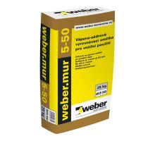 weber.mur 5-50, 25kg - ruční jednovrstvá vápenosádrová omítka, pro interiér, tl. vrstvy 5-50mm