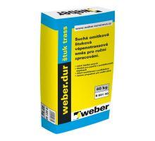 weber.dur štuk trass, 40kg - vnější vápenotrassová štuková omítka, zrno 0,6mm, tl. vrstvy do 3mm