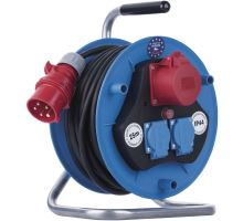 Kabel prodlužovací buben 25m 3 zásuvky IP44 gumový (1xCEE 3P+N+PE (16A), 2x2P+PE)