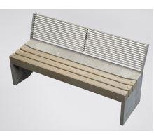 Betonová lavice Direct sedák dřevo s opěradlem natur 160 x 61,5 x 80 cm