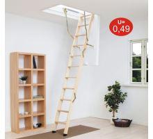 DOLLE půdní skládací schody Click Fix 76, dřevěný žebřík, rozměr 70x140 cm, výška stropu do 274 cm