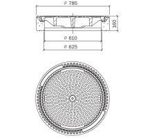 Šachtový poklop rám+víko BEGU-B-1 D400T 78,5/61x16 cm Best